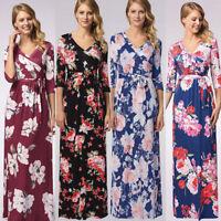 Womens Floral Long Maxi Dress Long Sleeve Evening Party Summer Beach Sundress*