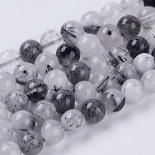 Black Quartz Rutilated Beads Natural  1 Strand 8mm 48 Pieces