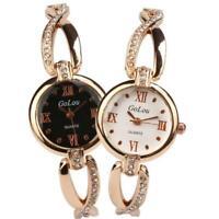 Women Fashion Crystal Stainless Steel Analog Quartz Bracelet Bangle Wrist Watch