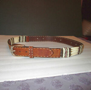 JUSTIN Size 38 LEATHER BELT Native BONE Hairpipe WOVEN Five Strand CONCHO Vtg