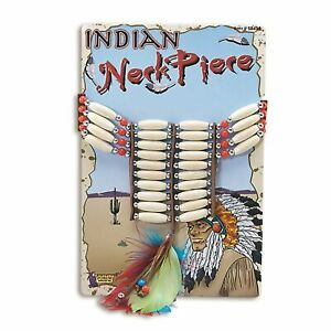 Deluxe Native American Red Indian Choker Necklace Fancy Dress Accessory Feather