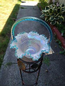 Fenton Opalescent Carnival Glass Hobnail Aqua Crest Rim Large Basket, HTF