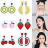 Women Charm Lemon Cherry Fruit Acrylic Ear Stud Earrings Pendant Dangle Jewelry
