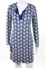 Diane Von Furstenberg Womens Dress Size 4 Ikat Batik Blue White Silk New $325