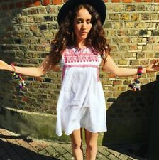 boho white embroidered dress, hippy, mexican, M