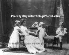 Antique 1900 Cute/Adorable Little Girls Violin Mother/Sister/Children/Kids Photo