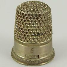 ANTIQUE LATE 19TH CENTURY AMERICAN COIN SILVER SIZE 5 SEWING THIMBLE