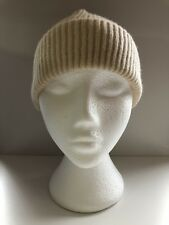 100% Pure Cashmere Fisherman Knit Ecru / Off-White Beanie Hat Handmade BNWT