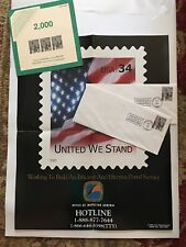 """Rare Poster US Postal Service """"United We Stand"""" 9-11 Tribute + Hero Stamp Covers"""