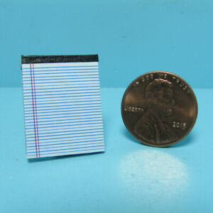 Dollhouse Miniature Replica Note Pad Tablet White Real Pages and Lined HR56101W