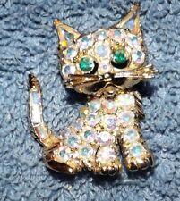 Vintage AB Rhinestone Cat Animal Brooch Pin Encrusted Jeweled Aura Borealis