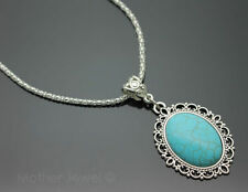 Silver Plated Turquoise Statement Fashion Necklaces & Pendants