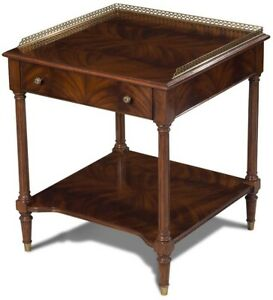 BEDSIDE TABLE SCARBOROUGH HOUSE CROTCH MAHOGANY BRASS GALLERY  DRAWER  SHE