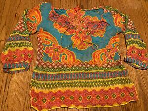 Hale Bob Cabana XS Multicolor Neckline Tie Long Sleeve Thin Silk Shirt Blouse