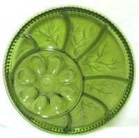 """Vintage Indiana Green Glass Relish Tray Divided 13"""" Serving Platter Tray round"""