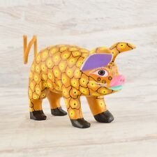 A1535 Pig Alebrije Oaxacan Wood Carving Painting Handcrafted Folk Art Mex