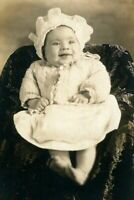 RPPC HAPPY BABY w RUFFLED BONNET & SWEATER ANTIQUE REAL PHOTO POSTCARD c 1905