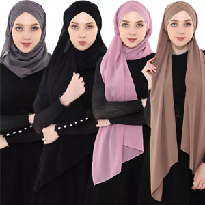 Ladies Women Hijab Pleated Cross Chiffon Scarf Sarong Shawl Vintage Wrap Plain