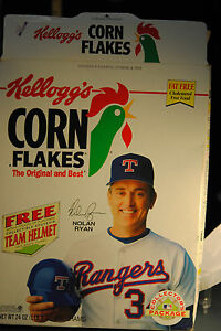 1991 kellogs corn flakes cereal box nolan ryan team helmet offer