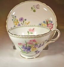SHELLEY FINE BONE CHINA #13686 WILD FLOWERS GAINSBOROUGH FOOTED CUP & SAUCER SET