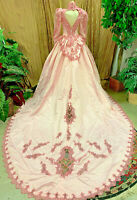 STUNNING ROSE PINK DYED SATIN BALLGOWN WEDDING DRESS RENAISSANCE FAIRE SIZE SM