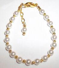 Newborn Baby Child Girl  Bracelet: Snow White Pearl & 14K Gold Plated Customize