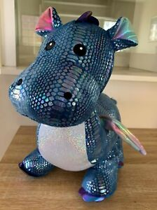 Blue Sparkly DRAGON Large Plush Soft Toy Holographic Wings Scales 64cm