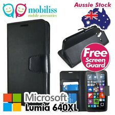 Standard TPU In PU Leather Wallet Case Cover for Nokia Lumia 640XL 640 XL Black