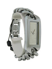 Moschino MW0017 Women's Rectangular Analog Silver Tone Curb Style Watch