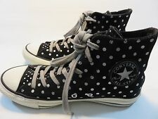 CONVERSE Black Leather High Tops With Metallic Silver Polka Dots Women's Size 8