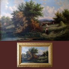 19TH/20TH C. ORIGINAL SIGNED ANTIQUE OIL PAINTING ON CANVAS, HAYMAKING LANDSCAPE