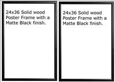 Two (2) 24x36 Wood Matte Black Finish Poster Frame 36 x 24