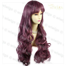 Wiwigs Dazzling Long Curly Dark Purple Wavy Cosplay Ladies Wig