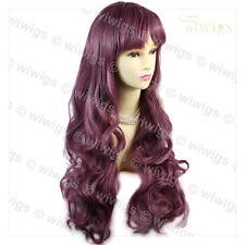 Wiwigs deslumbrante largo rizado ondulado Peluca Cosplay señoras púrpura oscuro