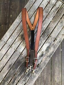 Men's Amish Made Leather SUSPENDERS, XL Acorn Oak Leaf Chestnut Brown Adjustable