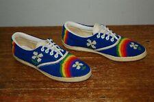 Van Doren Women's Shoe Us 8 Rare Flower Rainbow Needlepoint 60's-70's Sneaker