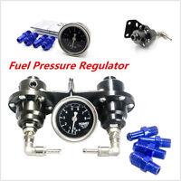 Black Type S Adjustable Fuel pressure Regulator Guage FPR Universal JDM Turbo