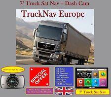 "New 2017 7"" Truck Sat Nav + Dash Cam With 8Gb SD Card + Sun Shield Key Fuels HGV"