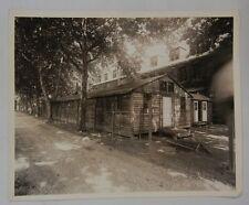 ORIGINAL WW2 Vintage PHOTO of U.S. ARMY BUILDING & WIRE FENCE