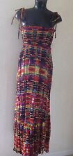 South Boho Cotton Embroidered Summer Maxi Dress Ruched Front Size 10