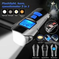 USB Rechargeable LED Bike Light Set Headlight Caution Bicycle Lights w/ Bell USA