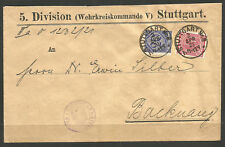GERMANY. 1921. OFFICIAL COVER. STUTTGART. MILITARY DISTRICT COMMAND.