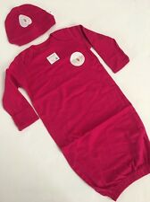 Burts Bees Baby Girl Organic Gown Hat Size 0-9 Months Hot Pink Fuchsia Layette
