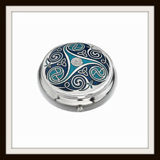 CELTIC SPIRAL & KNOT BLUE ENAMEL PILLBOX ~ FROM SEA GEMS ~