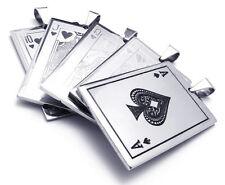 5 Colliers Carte Acier Roi Ace King Queen Jack Ten Steel Pendants Poker Casino
