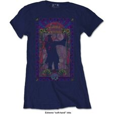 Small Blue Ladies Janis Joplin T-shirt - Fashion Tee Paisley Flowers Frame Soft