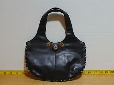 Black Faux Leather Nine West Ladies Evening Bag With Red Stone Studs