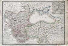 ANCIENNE CARTE DE LA TURQUIE D'EUROPE ET D'ASIE, L. Berthe, Paris - 1828