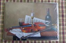 Violin Wine Metal Sign Painted Poster Garage Club Home Shop Pub Wall Art *