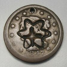 1847 Large Cent Star of David Counterstamp (N-14) GOOD Details Coin AE142